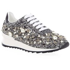 Casadei Marvin Embellished Glitter Sneaker ($1,030) ❤ liked on Polyvore featuring shoes, sneakers, glitter sneakers, shiny leather shoes, rubber sole shoes, leather shoes and genuine leather shoes