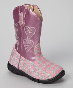 Take a look at this Jumping Jacks Pink & Silver Glitter Carrie Boot on zulily today!