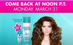 Free Rave Hairspray Giveaway Starts Today!  NOON P.T.