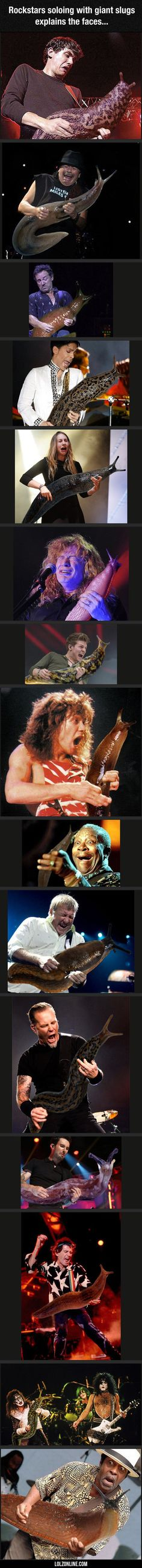 Rockstars Soloing With Giant Slugs#funny #lol #lolzonline