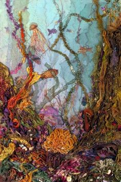 I ❤ fiber art . UNDERWATER FANTASY- ~taught by Judith Baker Montano I am absolutely intrigued by under the sea ribbon embroidery! Patchwork Quilting, Crazy Patchwork, Crazy Quilting, Ribbon Embroidery, Embroidery Art, Textile Fiber Art, Fiber Art Quilts, Textile Artists, Creative Textiles