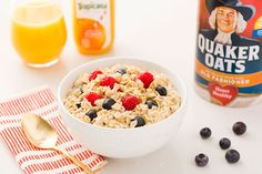 Start your day with a big bowl of oatmeal + fresh fruit.
