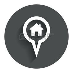 Map pointer house sign icon Home location marker symbol Circle flat button with shadow Modern UI web Stock Vector