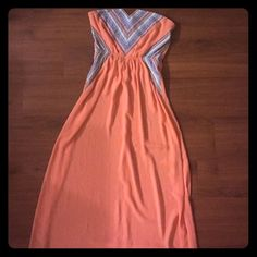 Strapless maxi Peach maxi. Very very long. Unlined but not too shear so if you wear nude you're good Francesca's Collections Dresses Maxi