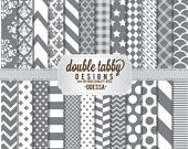 Digital paper pack instant download scrapbook - Basics grey, white, chevron, stripes, polka dots, damask - ODESSA