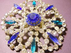 Vintage Hobe' Brooch Blue Teal Clear Rhinestones by LakeBreezes,  35.45