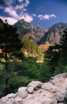 View of the spectacular Samaria Gorge a trekker's paradise on the southern coast of Crete - Greece
