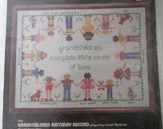 Grandchildren Birthday Record Cross Stitch Kit Dimensions 3023 Sealed by RetroExchange on Etsy
