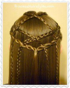 Pretty braided hairstyle.  Lattice pull through tutorial.