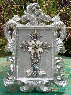 Vintage Rhinestone Jewelry Christmas Tree Framed Cross Art - w/ Mystic Topaz #CostumeJewelry by frances