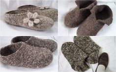 Felt Slippers for Adults by Nita Brainard.   Two strands of worsted are used together for this pattern.