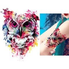 Tattoo Sticker 1 Sheet Temporary Owl Decal Design Waterproof