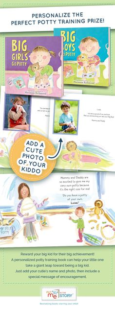 Reward your big kid for their big achievement! A personalized potty training book can help your little one take a giant leap toward being a big kid. Just add your cutie's name and photo then include a special message of encouragement.