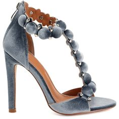 Gray Velvet Hardware Heels (¥4,350) ❤ liked on Polyvore featuring shoes, pumps, heels, open-toe pumps, gray shoes, gray pumps, velvet pumps and open toe shoes