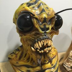 This monster bee silicone mask was made using our platinum-cure silicone rubbers and was painted using Psycho Paint tinted with Silc Pig. #moldmaking #casting #silicone
