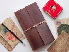 Our popular Leather Travel Journal is now handmade from our Hunter Leather! Can be personalised with that special message! This is the perfect gift to keep all of your adventure stories in! #gift #giftguide #adventure #vintage #journal #leather #leatherjournal #writer