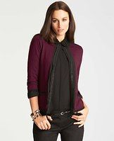 """Chain Trim Cardigan Jacket - Jacket required: in a refined cotton and merino wool blend, this chic style mixes it up with an exposed chain placket that adds a bit of unexpected edge. Jewel neck with hook-and-eye closure. 3/4 sleeves. Front patch pockets. 23 1/2"""" long."""