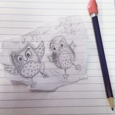 Just a lil #doodle at work. I love to doodle when im on the phone waiting lol. #owl #owls #illustration #art #artist #artistsketchbook #sketches #sketching #sketchbook #sketch #cute #music #buhos #birds #woodlandanimals #pencilsketch #pencildrawing #no2pencilart #jennysuchindesigns