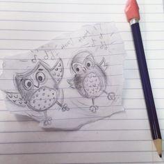 Just a lil #doodle at work. I love to doodle when im on the phone waiting lol. #owl #owls #illustration #art #artist #artistsketchbook #sketches #sketching #sketchbook #sketch #cute #music #buhos #birds #woodlandanimals #pencilsketch #pencildrawing #no2pencilart #jennysuchindesigns