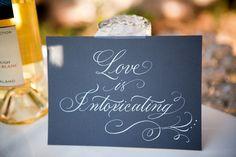 This wedding had THE PRETTIEST signs all around!! http://www.stylemepretty.com/florida-weddings/2011/07/13/casa-feliz-wedding-by-lori-barbely-photography ~  Calligraphy by Sarah Hanna ~ Photography by loribarbelyphotography.com