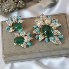 Vintage Jomaz Brooch Earrings in Original Neiman Marcus Box, Pave Crystals, Glass Turquoise & Chrysoprase Cabs, Fine Quality, Excellent Cond by VWayne on Etsy