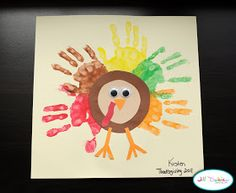 Preschool Crafts for Kids*: Thanksgiving Rainbow Handprint Turkey Craft