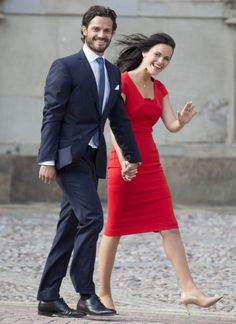 Prince Carl Philip and Sofia Hellqvist at the Royal Palace in Stockholm on June 27 when their engagement was announced.