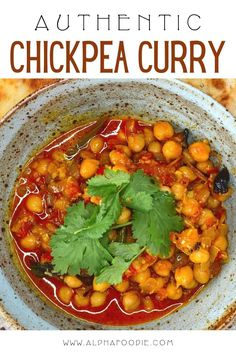How to make chana masala - a vegan chickpea curry dish made with a spiced onion and tomato masala gravy and perfect for enjoying with naan or rice. This Indian curried chickpea recipe relies on a careful selection of aromatics and spices for depths of flavor that will impress friends and family alike! Vegan Chickpea Curry, Chickpea Recipes, Savoury Recipes, Delicious Vegan Recipes, Vegetarian Recipes, Healthy Recipes, Healthy Food, Curry Dishes, Bean Recipes
