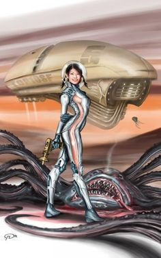 The Fantastic Art of Maurizio Manzieri Cyberpunk, Sci Fi Books, Sci Fi Movies, Aliens, Space Girl, Space Age, Vintage Space, Futuristic Art, Science Fiction Art