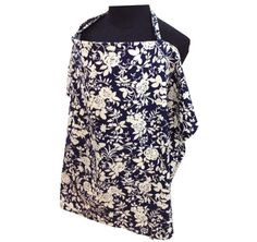 Image of Palm & Pond Large Breastfeeding Cover, Blue/White Floral