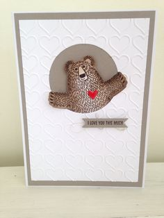 Stampin up bear hugs, happy heart embossing folder and bitty banners framelits
