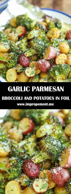 The easiest, flavor-packed side dish EVER! Wrap everything in foil, toss in your seasonings and you're set! Broccoli And Potatoes, Parmesan Broccoli, Garlic Parmesan, Vegetable Side Dishes, Vegetable Recipes, Vegetarian Recipes, Cooking Recipes, Healthy Recipes, Side Dish Recipes