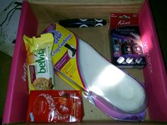My #RoseVoxBox complimentary from @Influenster for testing purposes! Filled with Kiss gradation nail polishes @Candy Cane Products / #KissNailArt belVita crunch Breakfast Biscuits @Belvita Hotels Hotels / #BreakfastBiscuits Dr. Scholl's For Her Cozy Cushions #DrScholls @Rimmel Livera London US #retromania @Lindt_Chocolate