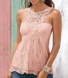Fashionable Scoop Neck Lace Splicing Backless Tank Top For Women Pretty Outfits, Beautiful Outfits, Cool Outfits, Casual Outfits, Fashion Outfits, Womens Fashion, Style Fashion, Looks Country, Shirt Bluse