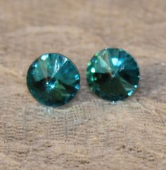 Aqua Rivoli Swarovski Crystal Stud Earrings by musicissanity, $5.99