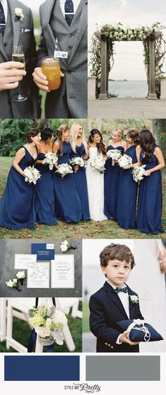 Navy and gray wedding details: http://www.stylemepretty.com/2015/03/03/modern-nautical-newport-wedding/