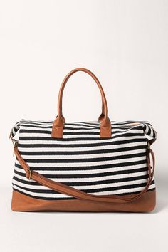 Francesca's Brenda Striped Weekender in Black - Black/White Louis Vuitton Damier, What To Wear, Stripes, Weekender, Handbags, Black And White, My Style, Accessories, Clothes