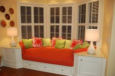comfy bay window seat. Love the end tables built in! I love, love, love