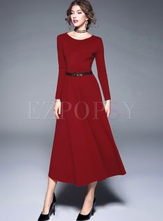 Shop for high quality Brief Long Sleeve O-neck Maxi Dress online at cheap prices and discover fashion at Ezpopsy.com
