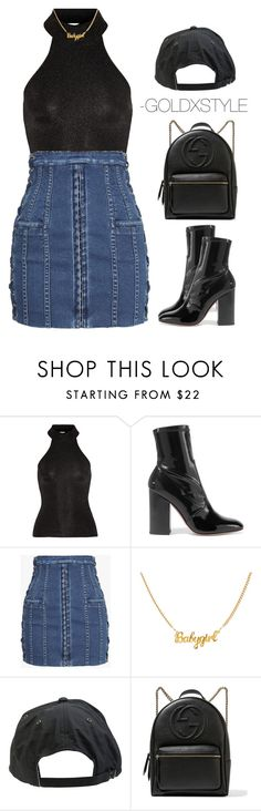 """CENTRAL."" by goldxstyle ❤ liked on Polyvore featuring Yves Saint Laurent, Valentino, Balmain, Volcom and Gucci"