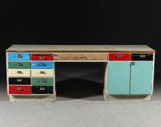 Wonderful long colored vintage work bench, original 1930's by ScandinavianLove on Etsy