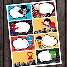 super hero tags. super hero party favor tags, thank you tags printable on Etsy, $4.00