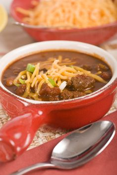 This crock-pot chili soup recipe uses ground beef and chorizo sausage meat along with three varieties of beans; red kidney, pinto and cannellini. Seasoning comes from a load of different herbs, spices and chipotle peppers in adobo sauce. The slow cooking blends all the flavors together and creates the ultimate chili soup!