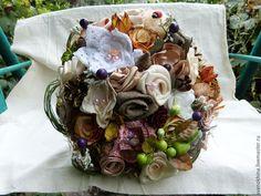 Купить Букет из натуральных тканей и природных материалов - букет, сухоцветы, природные материалы, цветы из ткани
