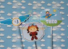 Toppers personalizados Tema Aviador by Oliver Festas Infantis.