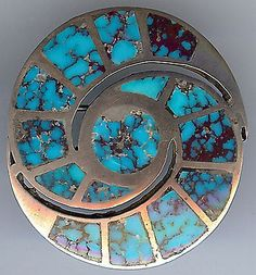 VINTAGE-ZUNI-INDIAN-SILVER-CHANNEL-SET-INLAID-TURQUOISE-SWIRL-PIN