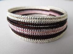 Stripe effect ..... Memory Wire Beadwork Bracelet. $24.00, via Etsy.