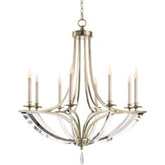 John-Richard Collection Bent 8-Light Crystal Chandelier featuring polyvore, home, lighting, ceiling lights, silver, czech crystal chandeliers, crystal hanging lamps, crystal lights, crystal lamps and crystal hanging lights