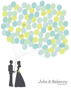Wedding Balloon Bunch SMALL 100 Guests- Digital File - Guest Book Alternative Personalized  - by kmberry