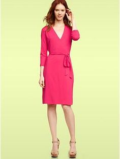 Wrap dress anyone?  I love this vibrant pink color- also comes in black.  Love the Gap!